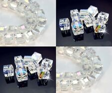 Wholesale Multicolor White AB Square Cube Cut Glass Crystal Spacer Beads Craft