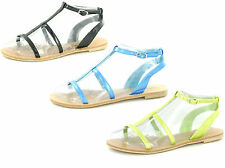 SALE LADIES SALE SPOT ON STRAPPY FLAT CASUAL ANKLE STRAP GLADIATOR SANDALS F0338