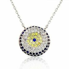 925 Sterling Silver Evil Eye Blue White Yellow CZ Pendant Necklace
