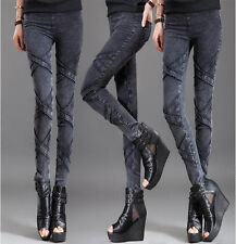 Women's Fashion Black Slim Pencil Trousers Sexy Thin Stretch Elastic Jeans Pants
