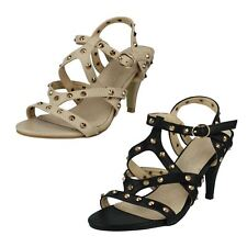 Spot On F10089 Ladies Studded Strappy Black & Ivory Sandal Sizes UK 3 to 8 (R3A)