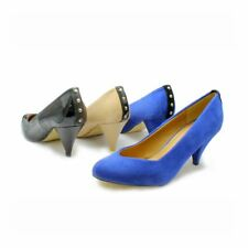Ladies low heel pointy toe court shoes with studded heel