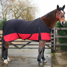 BLACK & RED TWO TONE SOFT HORSE FLEECE RUG + HEAD COLLAR + LEAD - ALL SIZES