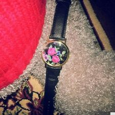 Fashion Quartz leather strap Watch Rose Flower Print Watches Watches