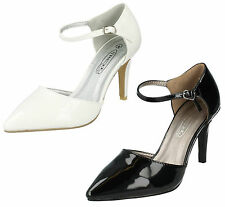 SPOT ON LADIES POINTED TOE PATENT ANKLE STRAP STILETTO HEEL COURT SHOES F9747