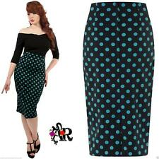 COLLECTIF FIONA POLKA DOT WIGGLE PENCIL SKIRT VINTAGE  SKIRT ROCKABILLY 50'S