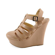 Bamboo Pamela 34 Sand Women's Strappy Fisherman Platform Wedges