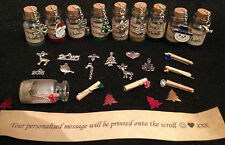 Personalised Christmas message in a bottle. Free giftbag. Xmas/new year card.