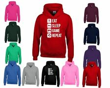 Eat Sleep Game Repeat Kids Hoodies Sweatshirt Pullover Hoody All Sizes