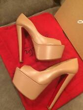 Christian Louboutin ALTAREVA Leather Platform Heel Pump Shoes Beige Nude  $1095