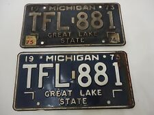 1973 MICHIGAN STATE LICENSE PLATES MATCHED SET TFL-881 FORD CHEVY PONTIAC DODGE