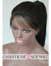 Indian Remy Human Hair Full Lace Wigs Yaki Straight With Baby Hair High Ponytail