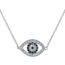 925 Sterling Silver Hamsa Evil Eye Blue White CZ Pendant Necklace with Chain