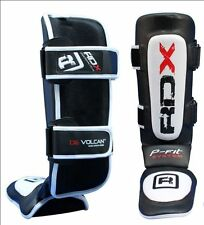 RDX Leather Shin Instep Pads MMA UFC Leg Foot Guards Muay Thai Boxing Kick G