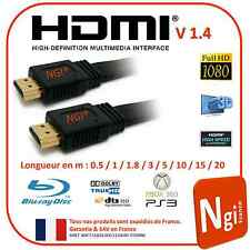 HDMI Cable 1.4V PRO 3D HIGH SPEED ETHERNET FULL HD 1080p long 0.5 m à 20m