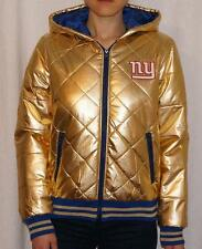 New York Giants G-III Womens Puffer Quilted Full Zip Jacket With Hood - Gold