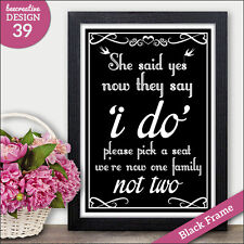 PERSONALISED Choose A Seat Wedding Signs - We are One Family not Two Vintage