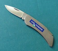 ZIPPO USA Gent Executive Lockback Knife NM All Stainless Advertising Chr. Hansen