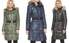 Andrew Marc New York down block coat Addy Faux Fur Hood black green 2016 $379