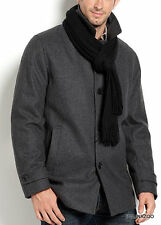 Calvin Klein Coat Wool Jacket Gray car Peacoat Scarf Walker 100% Authentic
