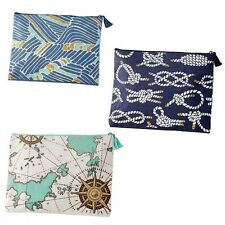 Mud Pie Seven 7 Seas Jute Case/ Cosmetic/ Clutch Nautical Ropes, Blue Waves, Map