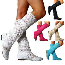 WOMENS SUMMER BOOTS FLAT SANDALS KNEE HIGH MESH KNITTED CUT OUT GLADIATOR