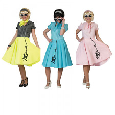 Ladies 1950s Poodle Rock and Roll Polka Dot Fancy Dress Costume Adults Outfit