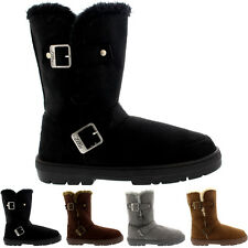 Womens Short Twin Buckle Fur Lined Winter Rain Snow Shoes Boots Ladies 3-8