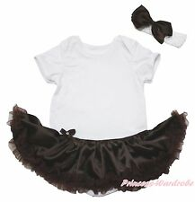 Plain Cotton White Bodysuit Girls Brown Satin Baby Dress Outfit Set NB-18Month
