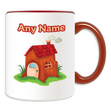 Personalised Gift Wooden House Mug Money Box Cup Fairy Tale Name Message Coffee