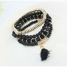 Women's Fashion Jewelry Tassel Beads Boho Hippie Stretch Shaped  Bracelet  Set