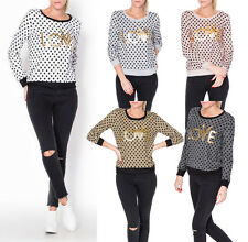 Women's Sweatshirt Sweater Pullover Polka Dots Print M 34 36 38 Party Sports