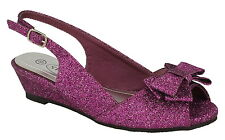 """SALE* Spot On H1090 Purple Glitter Buckle Fastened 1"""" Wedge Heel Party Shoes"""