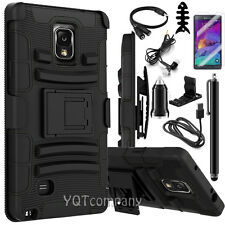 BLACK RUBBERIZED HARD CASE + BELT CLIP HOLSTER STAND FOR SAMSUNG GALAXY NOTE 4
