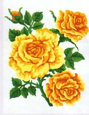 Love Roses? A bunch  of golden yellow Roses and buds- canvas only or kits