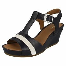 LADIES CLARKS LEATHER OPEN TOE WEDGE T-BAR STYLISH SUMMER SANDALS RUSTY REBEL