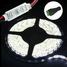 12V DC Cool White 5M 3528 SMD 300 LED Strips Led Strip Lights Waterproof +Dimmer