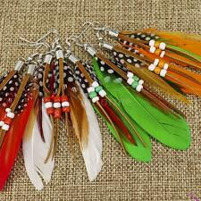 Fashion Women Girl Jewelry Long Feather Tassel Chandelier Earring Eardrop G1H6