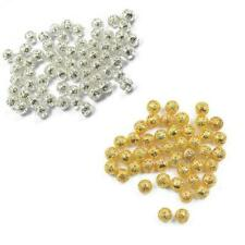 100pcs Filigree Round Spacer Beads Charms Findings Silver Gold 6/8mm for Crafts