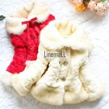NEW Girls Baby Toddler Faux Fur Warm Fleece Pearl Flowers Jacket Coat 2-6T LM