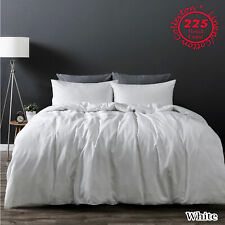 White LINEN COTTON Vintage Wash Quilt Doona Cover Set QUEEN KING Super King