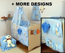 BLUE TEDDY COT ORGANIZER + NURSERY COT - COT BED SET WITH CANOPY + BUMPER +MORE