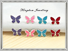 925 Sterling Silver Enamel Butterfly Earrings Studs for Children, Girls, Ladies