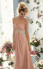 STOCK Pink Chiffon Party Prom Long Evening Dress Bridesmaid Ball Gown 8.10.12
