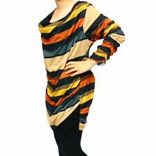 Multi coloured striped long length top