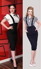 NWT Tatyana SUSPENDER Dress NAVY or BLACK 50s OVERALLS PENCIL SKIRT BETTIE PAGE