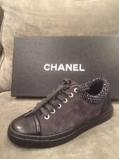 CHANEL 15A Suede Leather Lace Up Sneakers Tennis Kicks Shoes Grey Black $825