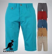 Mens Branded Kangol Button Fly 4 Pockets Chino Shorts Pants Bottoms Size S-XXL