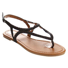 Olivia Miller YH-239065 Women's Braided Buckle Strappy Flat Thong Sandals
