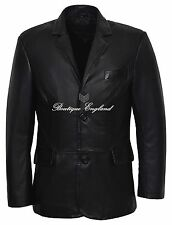 CLASSIC BLAZER  Men's Black Tailored Soft Real Lamb Leather Jacket Coat